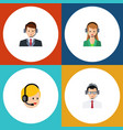 flat hotline set of call center secretary help vector image vector image