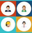 flat hotline set of call center secretary help vector image vector image