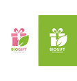 gift and leaf logo combination present and vector image vector image