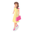 girl shopper holds package vector image