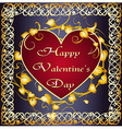 Greeting card with heart in celtic frame vs vector image vector image
