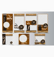 instagram story and feed template for coffee shop vector image vector image