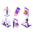 isometric augmented reality smartphone mobile ar vector image