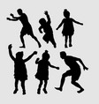 kids jumping silhouette vector image vector image