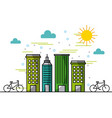 landscape buildings town bikes in street vector image