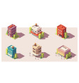 low poly isometric buildings set vector image vector image
