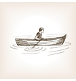 Man in boat sketch style vector image vector image