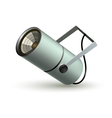 Metal cylindrical spotlight on a white background vector image vector image