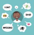 modern communication concept unhappy black man vector image vector image