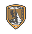 nature trekking vintage isolated badge vector image vector image