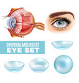 ophthalmology realistic set vector image vector image