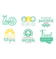 organic natural food logo set fresh vegan food vector image vector image