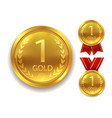 realistic award medal winner gold medal for first vector image vector image