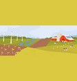 scenic landscape modern farm with fields vector image