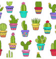 seamless pattern with cactus in color vector image