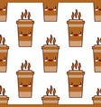 seamless pattern with coffee cup cute kawaii vector image
