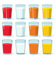 set colorful glasses with fresh juice and milk vector image