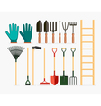 set garden tools and gardening items vector image vector image