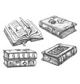 set isolated vintage books hardcover vector image