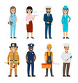 set of eight vocations full-length smiling persons vector image vector image