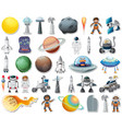 set stickers with solar system objects isolated vector image