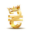 shiny gold ukrainian hryvnia currency sign with vector image vector image