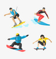 snowboard jumping extreme athletes vector image vector image