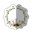 sticker colorful ornament creepers with flowerbud vector image vector image