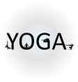 text yoga with different yoga poses vector image vector image