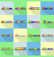 train toy children icons set flat style vector image vector image