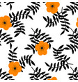 tropical flowers and black leaves seamless pattern vector image