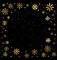 winter golden christmas snowflakes on black vector image