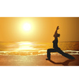 Silhouette of a Girl Doing Yoga on the Beach vector image