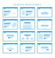 headers wireframe components for prototypes vector image