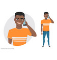a black african american man is talking on the vector image vector image