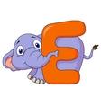 Alphabet E with elephant cartoon vector image vector image
