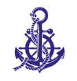 anchor and ships wheel symbol vector image vector image