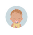 baby sleeping with pacifier dummy emoticon vector image