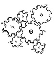 black and white cartoon cogs and gears vector image vector image