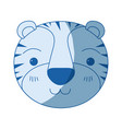 blue color shading silhouette cute face of tiger vector image vector image