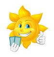 cartoon sun is playing blackjack vector image vector image
