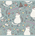cat unicorn magic seamless pattern vector image