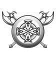 celtic shield with axes vector image vector image