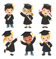 children in a graduation gown and mortar board vector image vector image