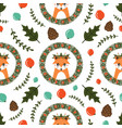 christmas seamless pattern with cute fox vector image