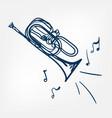 cornet sketch line design outline blue vector image vector image