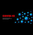 covid-19 long banner dark background with vector image