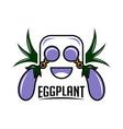 eggplant mascot logo vector image