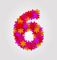 floral numbers colorful flowers number 6 vector image vector image