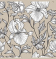 floral seamless pattern flower background engrave vector image